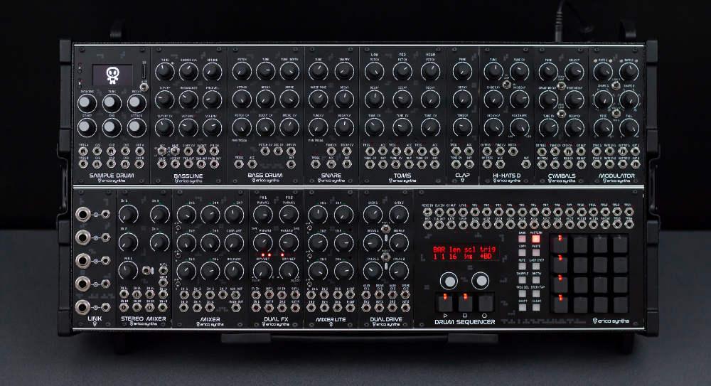 Das Techno System von Erica Synths ist eine optimal aufeinander abgestimmte Kombination aus Drum Machine und Modularsynthesizer