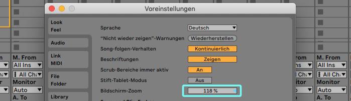 Bildschirm-Zoom in Ableton vergrößert alle Bedienelemente und erleichtert das Arbeiten mit der DAW