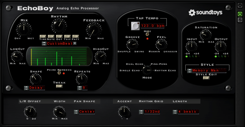 Eines der besten Delay-PlugIns: EchoBoy von Soundtoys bietet auch MultiTap-Delays