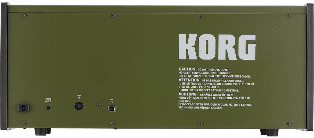 Korg MS-20 FS Test - Rückseite mit Anschlüssen für MIDI und USB