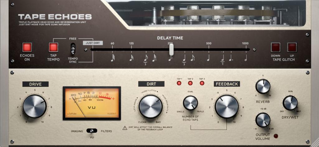 die besten delay vsts: softube tape echoes